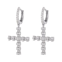 Sterling Silver Religious Designer Cross Micro Pave Dangling Hoops