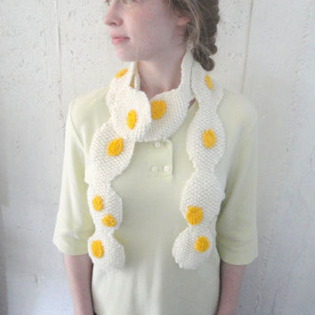Fried Egg Scarf, Knitted, Funny Silly, Egg Yolks, Men Women Teens Kids, Geeky Nerd