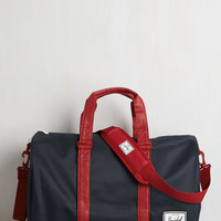 Menswear Inspired Away With Words Weekend Bag in Navy and Red by Herschel Supply Co. from ModCloth