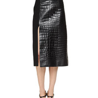 Camel-Hair Capelet Trenchcoat, Bishop-Sleeve Scarf Blouse & Croc-Embossed Leather Paneled Skirt