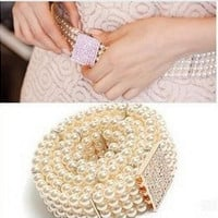 Small Gold Buckle Rhinestone Pearl Belt