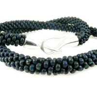 Blue Kumihimo Necklace Beaded Braid with Silver Hook Clasp Denim Rope Bead Cord