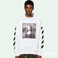 OFF-WHITE C/O VIRGIL ABLOH Mona Lisa OW Men and Women Hoodie Sweater Hooded F-A-KSFZ White