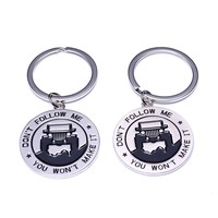"Fashion Key Chain for Jeep Enthusiasts -Key rings for Jeep ""Don't Follow Me You Won't Make It"" Great Gift For Any Jeep Owner"