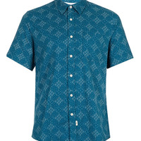 BLUE ALL OVER PATTERN SHORT SLEEVE SHIRT - Shirts - New In - TOPMAN USA