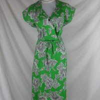 Vintage 40s 50s DEADSTOCK Green Cotton House Day Dress W34