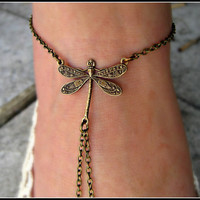 unique dragonfly anklet  by alapopjewelry