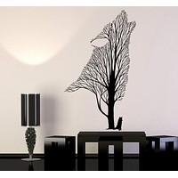 Vinyl Wall Decal Tree Howling Wolf Raven Animals Gothick Style Stickers Unique Gift (1242ig)