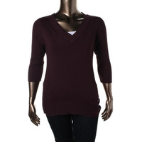 Style & Co. Womens Plus Knit V-Neck Pullover Sweater