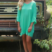 The Vienna Mint Bell Sleeve Shift Dress With Cutout Details & Crochet Lace Hem