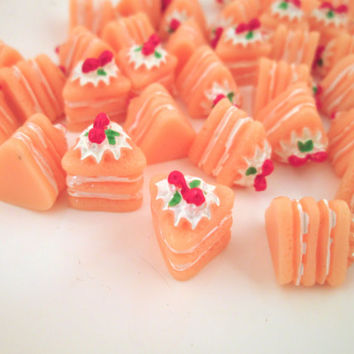 Pink Cake Slice Cabochons Miniature Desserts Kawaii Decoden Sweets