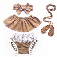 Newborn Baby Girls Princess Romper Top+Bow Knot Headband+Shorts 3pcs Outfits Set