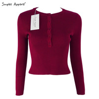 Simplee Apparel Brandy Melville Christmas pullover red short knitted sweater Women tops elastic Autumn Winter 90's crop top girl