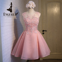 ENGERLA Appliques Crystals Short Prom Dresses Pink Lovely Tulle Ball Gown Customized Colors Open Back Sexy Party Dress