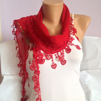 Red Scarf - Red Heart Lace Scarf - Fringed Scarf - Cowl With Lace -  Wedding Gift - Bohemian Scarf