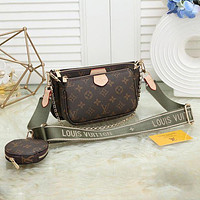 LV Louis Vuitton Hot Sale Coffee Letter Three-piece Set Fashion Ladies One Shoulder Messenger Bag Chain Handbag Coin Purse