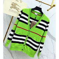 BURBERRY Fashion Women Long Sleeve Button V Collar Knit Cardigan Jacket Coat