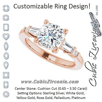 Cubic Zirconia Engagement Ring- The Belem (Customizable 5-stone Baguette+Round-Accented Cushion Cut Design))