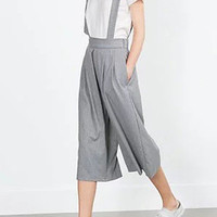 Grey Stripe Suspender Cropped Culottes