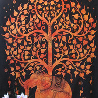 Orange Elephant Tapestry, Twin Elephant Tree Tapestry Wall Hanging, Indian Bedspread, Hippie Tapestry, Bohemian Throw Ethnic Home Decor