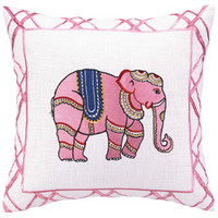 Elephant Pink Embroidered Pillow