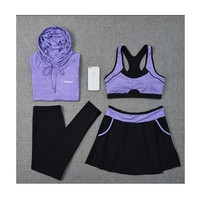 2018 New Yoga Set Women Gym Clothes Hoodies Sport Bras Pants Skirts Jogging Suit Long Sleeve Fitness Breathable M-3XL Large Size