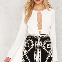 Nasty Gal Third Time's a Charm Bell Sleeve Bodysuit