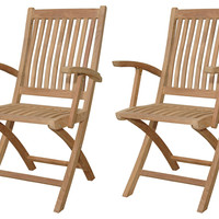 Tropico Folding Armchairs, Pair, Outdoor Deck Chairs