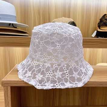 Summer Temperament Fairy Solid Color Flower Lace Fisherman Hat Bucket Hat Women Vacation Sun Cap