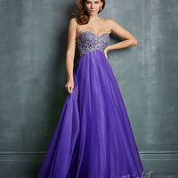 Night Moves by Allure - Purple Tulle & Sequin Sweetheart Prom Gown