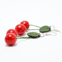 Cherry  Earrings Natural Jewelry Dangle Earrings Food Earrings for Women Red Polymer Clay Cherries Girly Gift Ideas