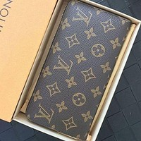 LV Louis Vuitton Classic Checkerboard Presbyopia Long Zipper Clutch Coin Purse