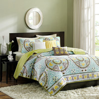 King size 6-Piece Damask Quilt Coverlet Set in Blue Brown Green