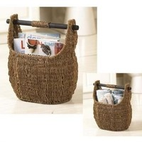 "Seagrass Basket With Wooden Handle 13"" X 16""h"