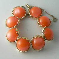 Signed Coro Soft Orange Apricot Thermoset Chunky Bracelet