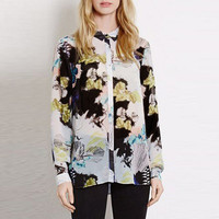 Painting Print Shirt Collar Button Down Cuff Sleeve Blouse