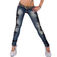 Women Jeans Pants Lace Floral Splice Wigh Denim Sexy Gradient Skinny Women Jeans With Lace Plus Size Caca Feminina