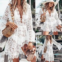 New Fashion Lace V-Neck Long Sleeve Dress Women White