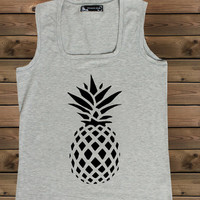 Women's Tank Pineapple on a U Ladies Pineapple Tank,Screen Printing Tank,Women's Tank,Gray Tank,Size S, M, L