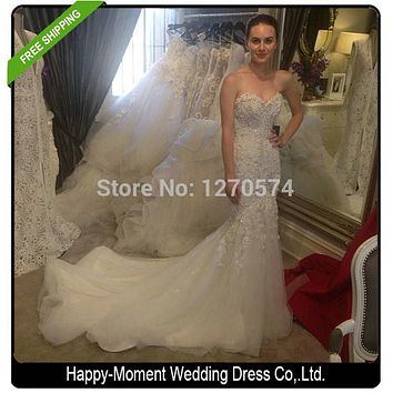 Sweetheart Beaded Mermaid Wedding Dress 2016 Real Pictures Lace Wedding Dress Tulle Bridal Wedding Gown Vestido De Noiva SL-W57