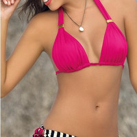 Fashion Multicolor Stripe Bandage Halter Bikini Set Swimsuit Swimwear