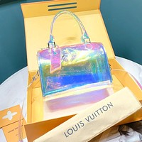 LV travel bag PVC rainbow color transparent younger fashion sunshine bling bling glow laser bag