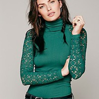 Free People Womens Rib and Lace Turtleneck