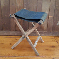Vintage Folding Wood Camp Stool With Fabric Seat Great Portable Seating Perfect Small End Table