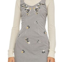 Topshop Embroidered Gingham Pinafore Dress | Nordstrom