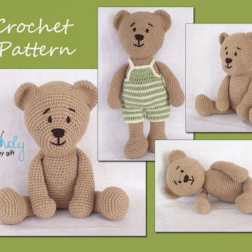 Free Amigurumi Crochet Bear Pattern, Brown and Blue Colored - Free ... | 354x354