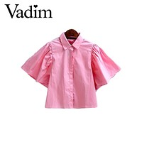 Women backless pleated pink shirt back bow tie flare sleeve turn down collar blouse ladies summer streetwear tops blusas DT993