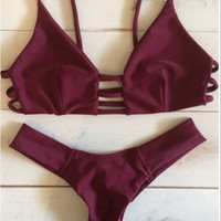 Retro Wine Red Bikini Set Two Piece Bandage Swimsuit