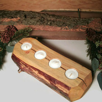 Rustic Wooden Candle Holder Log - Tealight Holders
