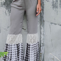 Sunset Adventures Gray Tie-Dye & Lace Cut Out Bell Bottoms